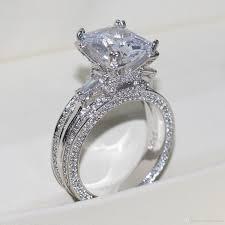 women wedding rings vecalon women big jewelry ring princess cut 10ct diamond cz