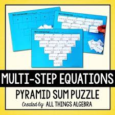 multi step equations pyramid sum puzzle by all things algebra tpt