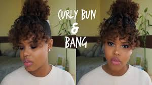 easy curly bang bun tutorial holiday hairstyle for natural