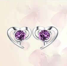 purple stud earrings discount purple heart stud earrings 2017 purple heart