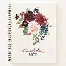 style flower burgundy navy blue floral watercolor bouquet notebook
