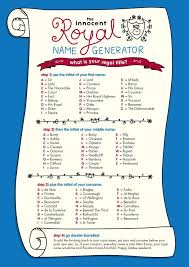 Meme Name Generator - the innocent royal name generator character name generators know