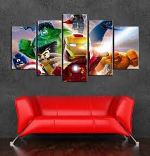 Kids Lego Room by Marvel Superhero Lego Cartoon Canvas Art Painting Wall Decor Of 5