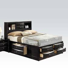 Bed With Storage In Headboard Ireland Black Espresso Eastern King Bed Multi Drawers Storage