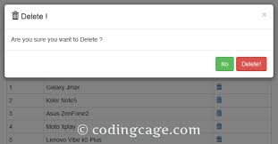 Mysql Delete From Table Delete Rows From Mysql With Bootstrap Confirm Modal Coding Cage
