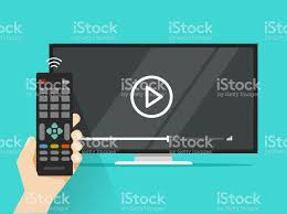 cartoon film video free download remote control in hand near flat screen tv watching video film