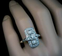 art deco diamond platinum white gold ring 1920s antique jewelry