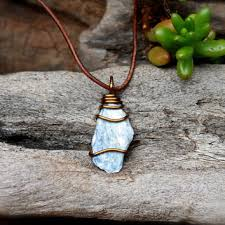 stone pendant leather necklace images Best raw kyanite products on wanelo jpg