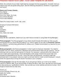 sample cover letter preschool teacher job huanyii com