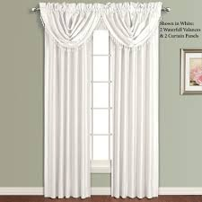 White Faux Silk Curtains Annaleigh Faux Silk Waterfall Window Treatment