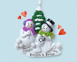 engagement snowman personalized ornament she said