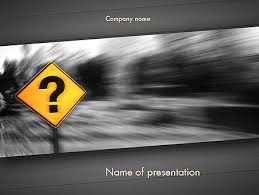 question mark road sign powerpoint template backgrounds 11493