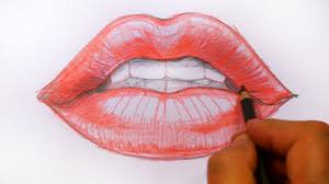 Youtube Red Color How To Draw Red Lips Speed Drawing Mat Youtube