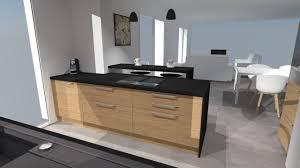 plan bar cuisine b3 anubis ilot de cuisine plaqué bois et plan bar noir