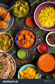 cuisine curry assorted indian food on wooden stock photo 573575482