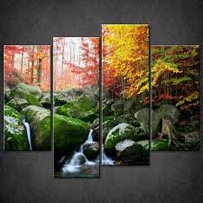 decor home interior design with river autumn forest split canvas