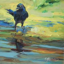 Color Painting by Grackle A Wild Bird With Wild Color Painting Original Art