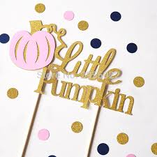 pink and gold party supplies pumpkin cake topper glitter topper pink and gold party