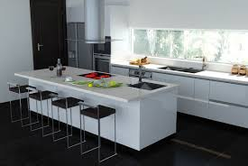 kitchen black white kitchen with white island in slim shape with