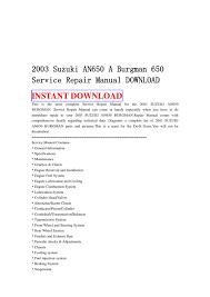 2003 suzuki an650 a burgman 650 service repair manual download by