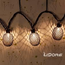 lidore set of 10 metal pineapple shaped lanterns