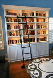 Bookcase With Ladder Furniture Good Black Painted Rolling Library Ladder With Black