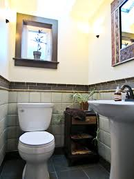 small half bathroom tile ideas with white ceramic toilet and white