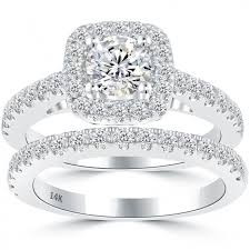 white gold wedding band sets 2 50 carat e si1 diamond engagement ring wedding band set 14k