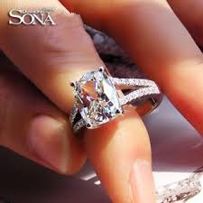 luxury engagement rings luxury wedding ring 3 85 carat cushion cut sona synthetic gem