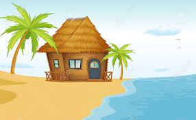 illustration of a beach bungalow scene royalty free cliparts