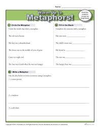 metaphors warm up activity figurative language worksheets