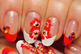 nail art experiment white and red french tip acrylic paints red