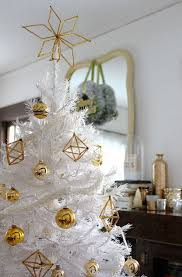 white christmas tree with gold himmeli ornaments simplified bee
