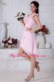 light pink dama dresses flowers one shoulder pink dama dress with front short back long