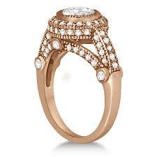 vintage diamond halo art deco engagement ring 18k rose gold 0 97ct