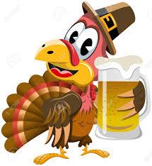 happy thanksgiving turkey holding mug isolated royalty free