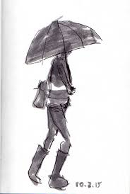 woman with umbrella and rain boots sketch joana miranda studio