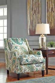 paisley accent chair ideas with varnished wooden floor and gray
