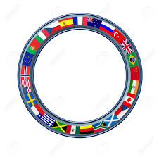 Blank Brazil Flag World Ring Of Global Flags As A Circular Blank Frame With A Metal