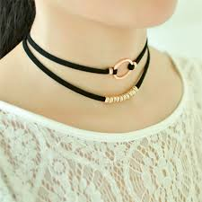 black necklace with gold images Simple design double black leather chain choker necklace gold jpg