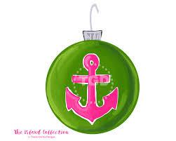 preppy anchor christmas ornament clip art preppy pink and