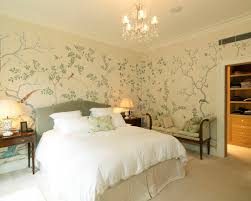 wallpaper with birds decorating dazzling bedroom using chinoiserie wallpaper with