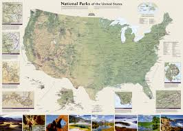 Usa Wall Map by Us National Parks Wall Maps