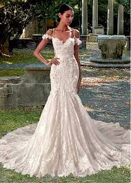 mermaid wedding dress buy discount amazing tulle lace spaghetti straps neckline
