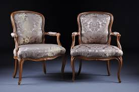 Antique Upholstered Armchairs Pair French Antique Armchairs Fauteuils Louis Xv Damask