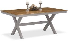 dining room trestle table nantucket trestle table oak and gray value city furniture