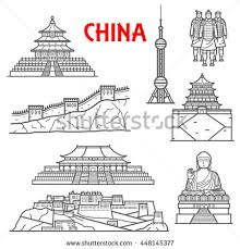 famous ancient china landmarks thin line stock vector 448145377