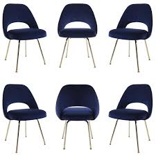 saarinen executive armless chairs in navy velvet 24k gold edition