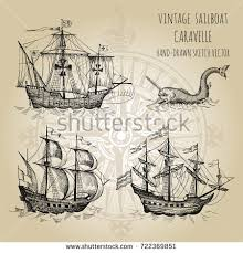 old caravel vintage sailboat sea monster stock vector 725476165