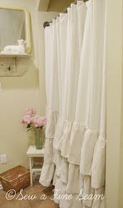 curtain ivory ruffle shower for lovely bathroom decoration ideas